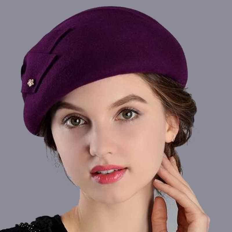 100% шерсть Для женщин моды фетровых леди элегантный британский стиль двойной цветок берет Шапки берет для Одежда для весны, осени, зимы сезона M1
