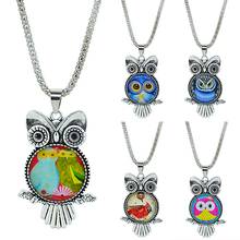 Hot Fashion Selling Owl Pendant Silver Plated Glass Dome Cabochon Long Chain Necklace