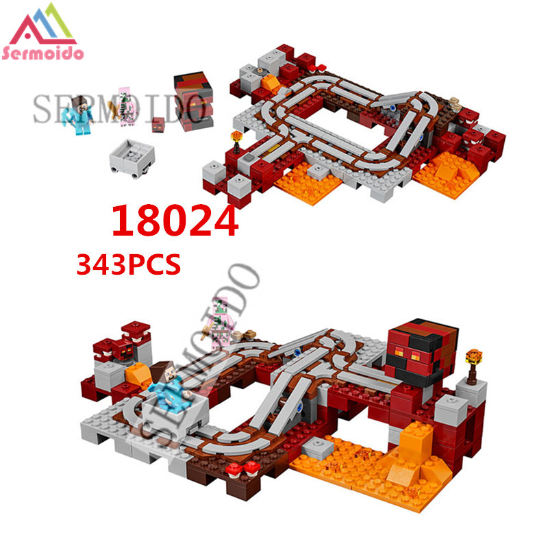18024 my world series The Nether Railway model Building Blocks Compatible 21130 Classic Architecture toys for children