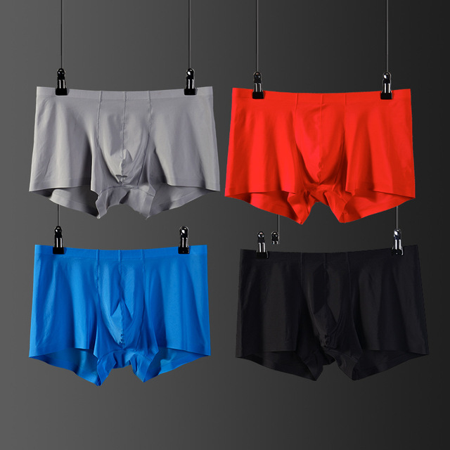 mens underwear men Boxer shorts Ice silk cool Seamless u convex design soft sexy kilot male men's underpants cueca boxer homme