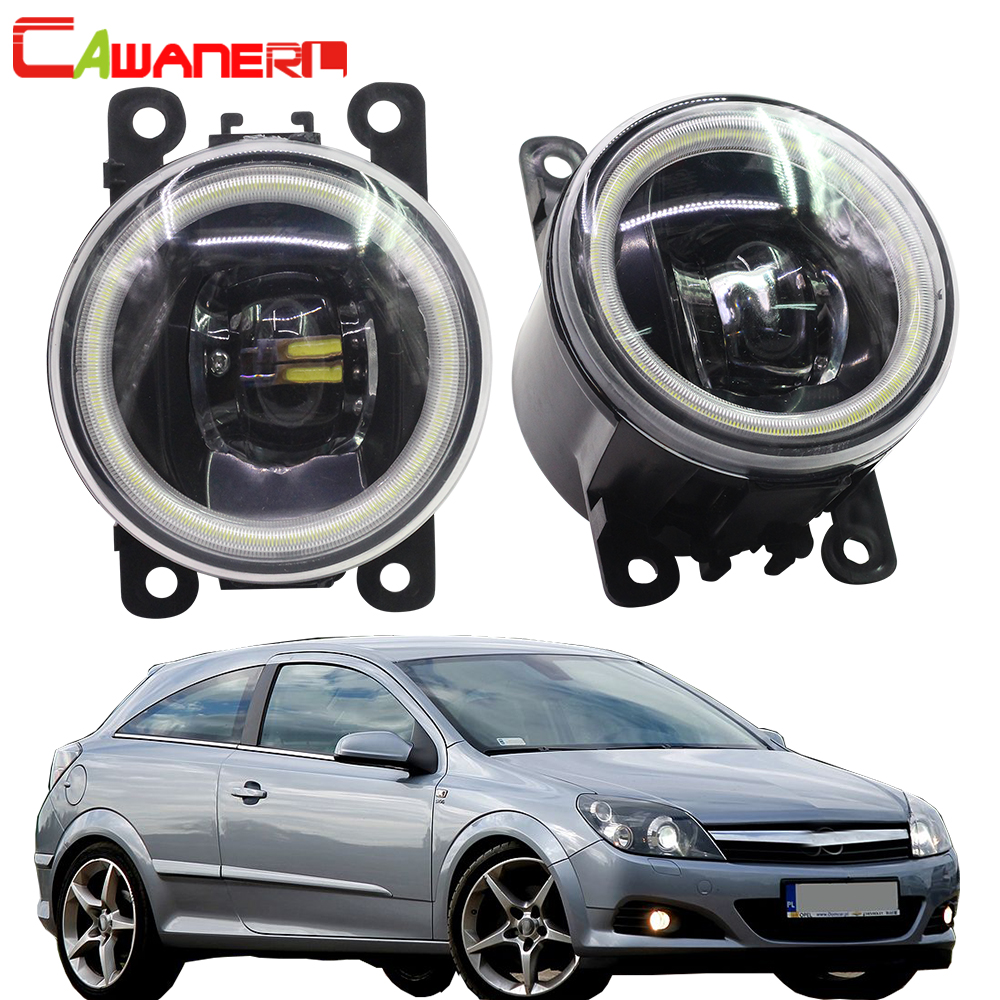 Cawanerl For Opel Astra G H 1998 2010 Car 4000LM LED Lamp H11 Fog Light Angel Eye Daytime Running Light DRL 12V High Bright