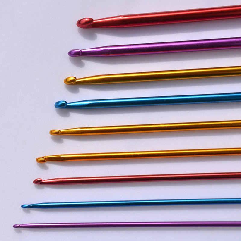 KOKNIT 11 stuks Haaknaalden Naalden Hand Naaien Naalden Set Multicolour 2.0-8mm Tunesische Afghaanse Aluminium Breinaalden gereedschap
