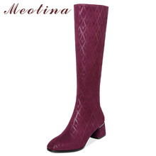 Meotina Autumn Knee High Boots Women Slim Stretch Thick High Heel Long Boots Fashion Round Toe Tall Shoes Lady Winter Size 34-39 white round toe thick heel boots back zip knee high woman shoes 2018 new fashion lady shoes high heel long boots top selling