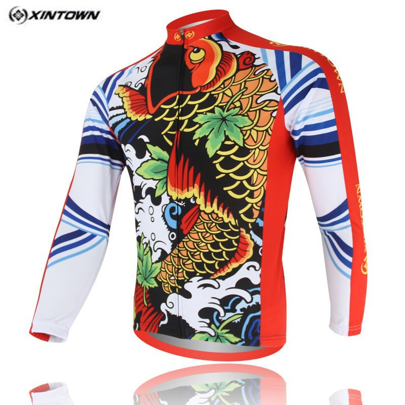 Popular XINTOWN Red Bike Long jersey MTB Team Cycling clothing Riding Bicycle Top Wear Men Maillot Long Sleeve