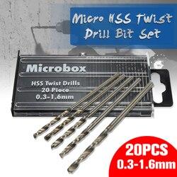 Mais novo 20 pçs/set 0.3mm-1.6mm Mini de Alta Velocidade de Aço HSS Micro Torção Conjunto Broca Ferramentas De Poder modelo de Artesanato Com Caso de Peças de Reparo