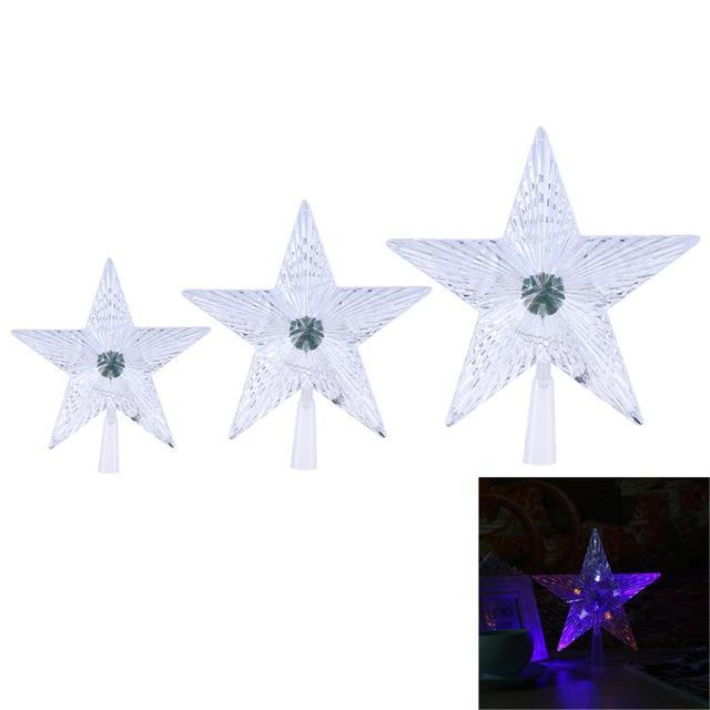Five Pointed Star LED Light Christmas Tree Decor Transparent Pentagram Shaped Lamp Bedroom Home
