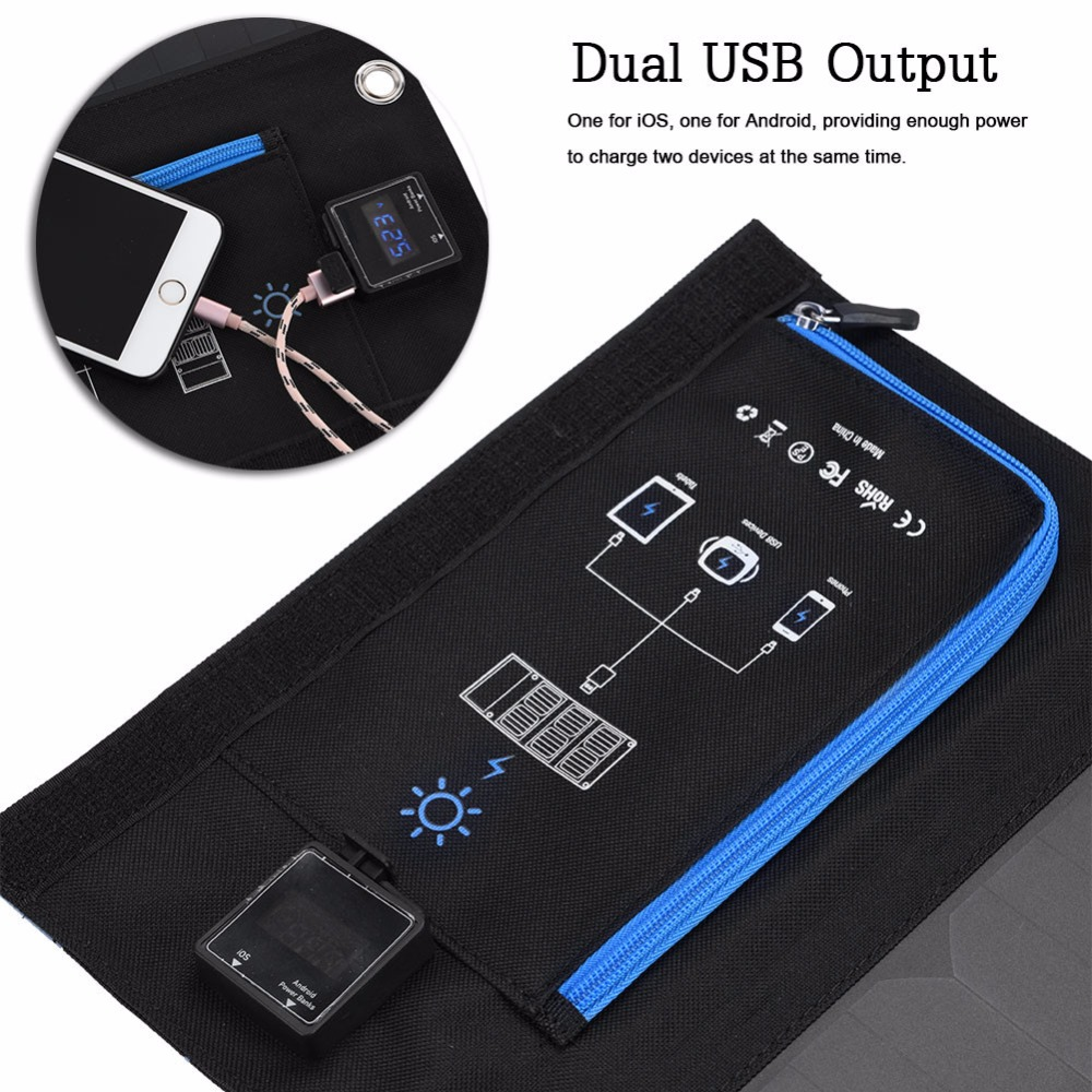Portable Outdoor Waterproof 18W Solar Cells Panel Mobile Power Charger 5V 2.6A USB Output Devices Folding For Smartphones Laptop portable outdoor solar charger mobile phone mobile power supply folding expedition 5v charging board