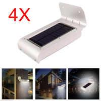 4PCS 16 Led Solar Lamp Motion Sensor Outdoor Waterproof Body Induction Sound Control Battery Power Garden Wall Light