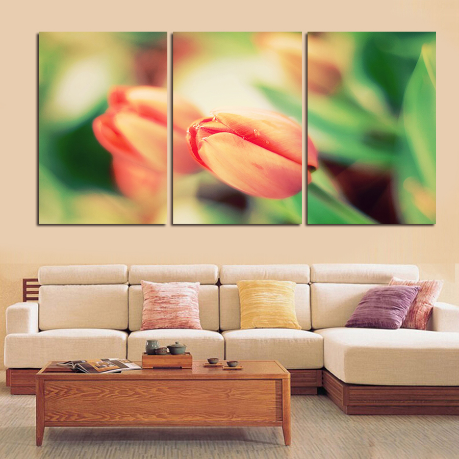 2016 New Sale Cuadros Wall Art 3pc/set Large Tulips Painting Flower Canvas Pictures On The Print Home Decor Modular No Frame