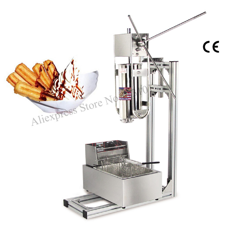 Commercial Deluxe Stainless Steel 5L Churro Machine + 6L Electric Fryer, Manual Spanish Churros Maker Capacity Five Liters churro display warmer deluxe stainless steel churro showcase machine with heat food warmer and oil filter tray