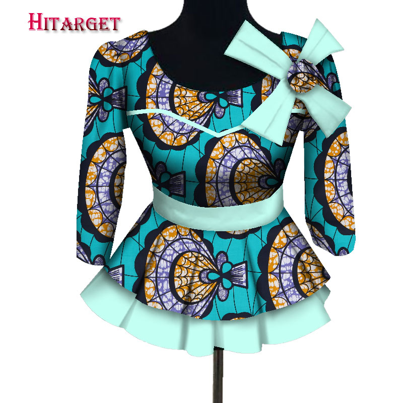 Dashiki African Women Clothing Bazin Riche Fashion Elegant O Neck Crop Top Shirts african clothes for women customizable WY3801 in Africa Clothing from Novelty Special Use