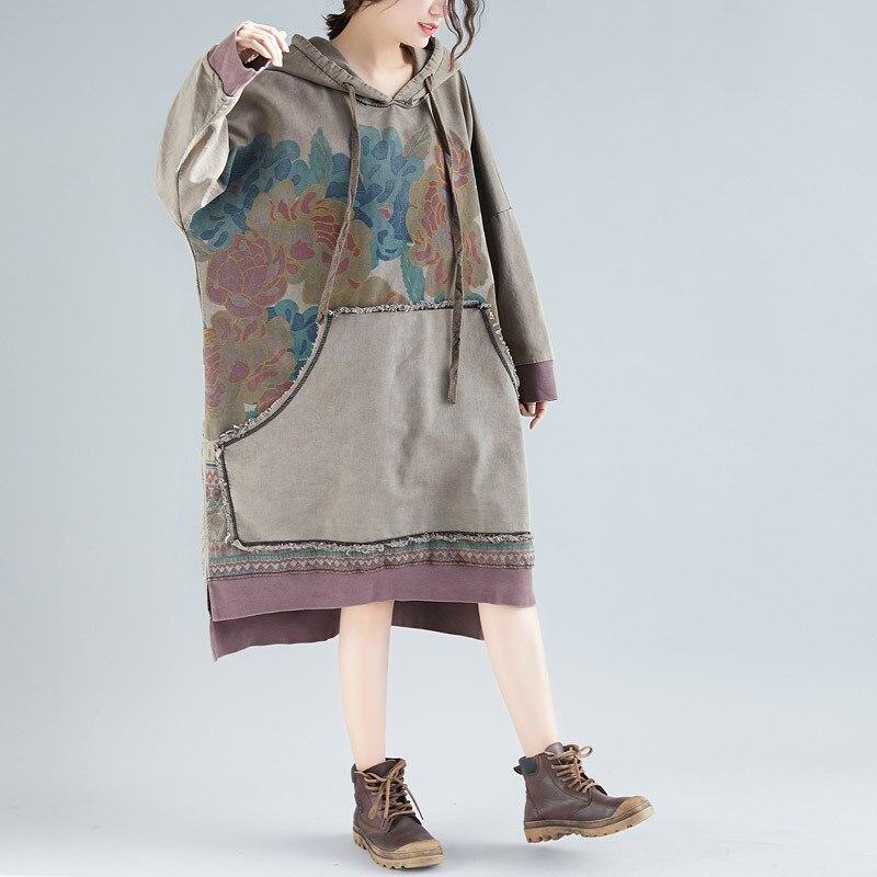 Johnature 2019 Spring Pullover Hoodies Print Floral Vintage Women Sweatshirts Loose Hooded Plus Size Women Cloths Chinese Hoodie