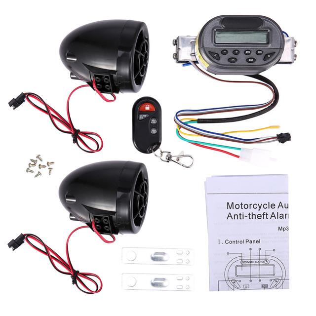 Alarme da motocicleta MP3 Player FM Carregador Do Telefone Móvel FEYCH Alarme Da Motocicleta Áudio Anti-roubo Guarda MTF05