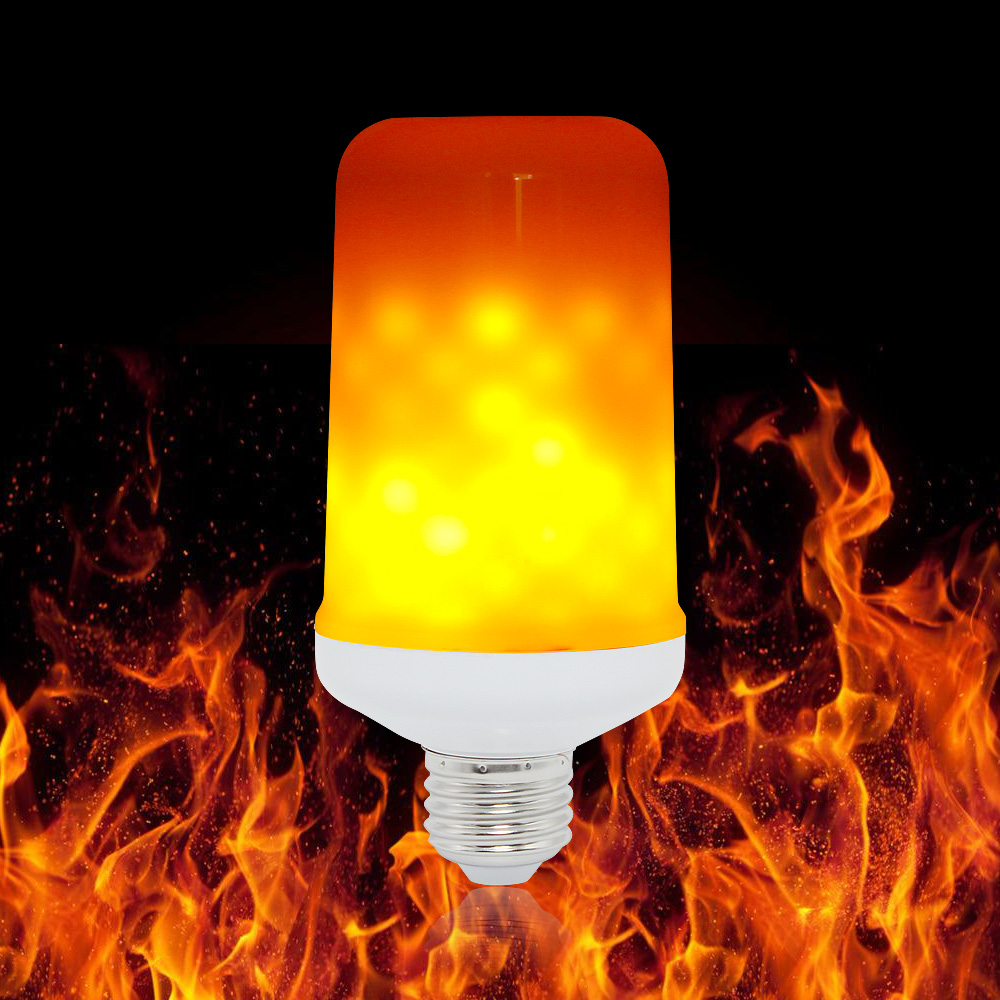 Ampoule E27 LED Dynamic Flame Effect Corn Bulb 4 Modes AC 85-265V Flickering Emulation Gravity Decor Lamp Creative Fire Lights