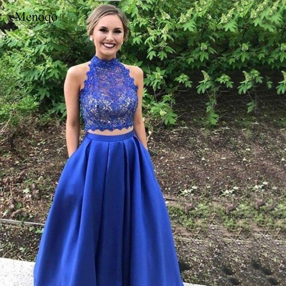 Vestidos de Graduacion Lace Satin High Neck 2 Piece Prom Dresses Floor Length with Pockets Formal