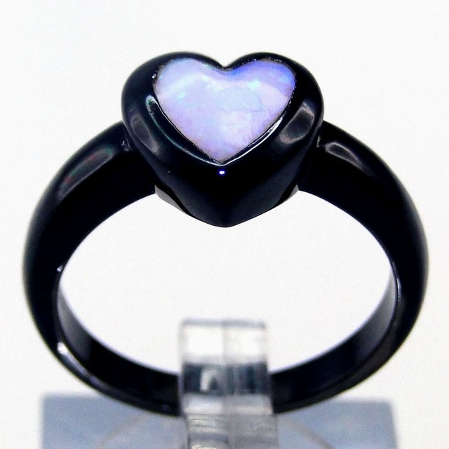 New Style Fashion Jewelry Blue Heart Fire Opal Wedding Ring Black Gold Filled Engagement Rings