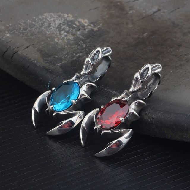 KJJEAXCMY boutique jewelry  S925 pure silver inlay blue crystal scorpion king pendant men and women retro pendant