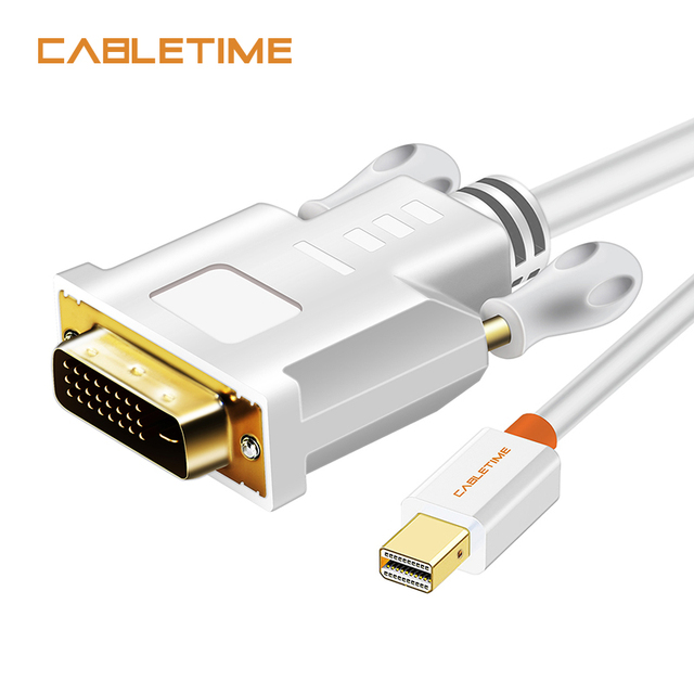 Big Sale CABLETIME Thunderbolt Mini Displayport Mini DP to DVI Cable Converter for MacBook Pro AiMini TV Laptop Projector Adapter N014