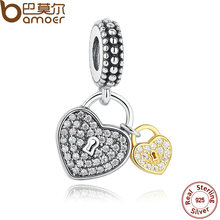 BAMOER Spring Collections 925 Sterling Silver Love Locks, Clear CZ Pendant Charms for Girls Bracelet Necklace Equipment PAS263