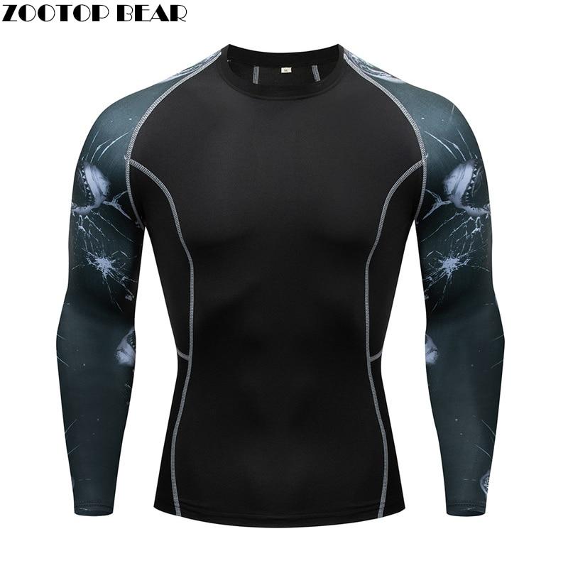 Running T-Shirt Men Skull Sport T Shirt Gym Shirt Men Compression Tight Fitness Top Bodybuilding Tshirt Shark 3D Soccer Jersey