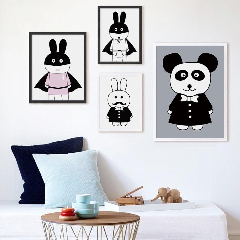 אלגנטי שירה נורדי שחור שחור לבן ארנב בעלי חיים ציור ציור אמנות הדפס פוסטר A4 תמונה קיר קישוט ילד חדר תפאורה