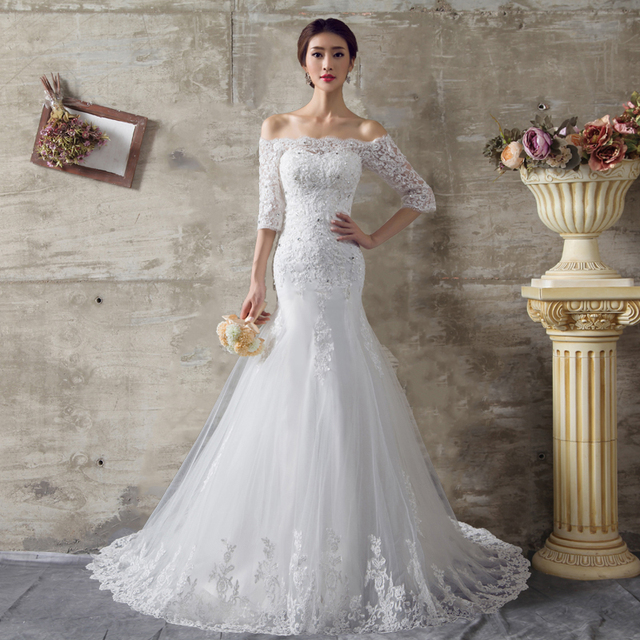 WB321 Boat Neck Wedding Dresses Half Sleeve Bridal Gown Off The Shoulder Appliques  Lace Mermaid Wedding Dress With Sleeves 2a30435990b0