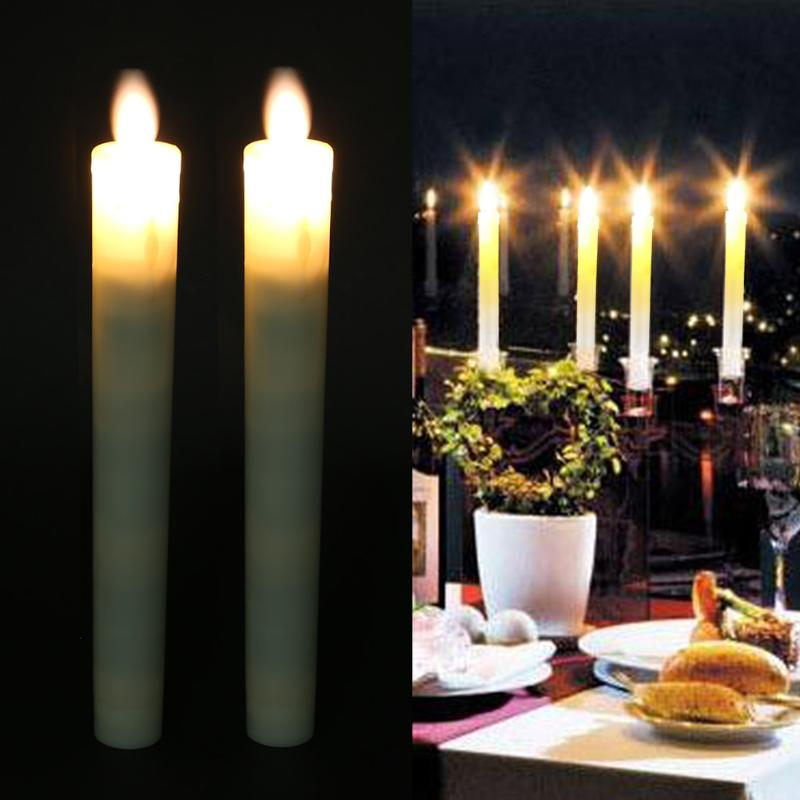 2pcs Battery Powered Electronic LED Flameless Candle Lights Simulation Flickering Lamp Home Wedding Birthday Party Decoration