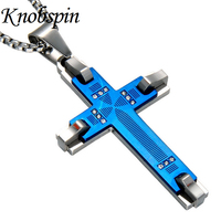 High Quality Stainless Steel Cross Pendant Men Necklace Blue Black Gold Color Necklaces AAA CZ Fashion