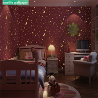 Korean stars moon kids room luminous fluorescent non woven wallpaper boys and girls bedroom bedroom TV background wall paper