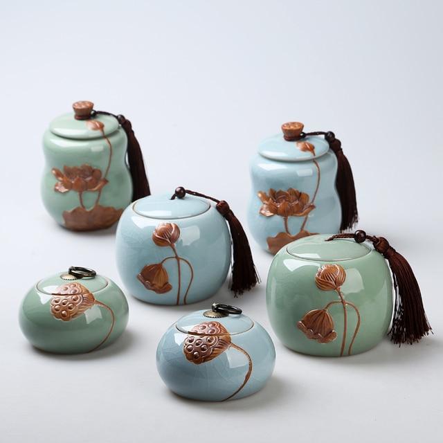 Azul Verde Bote de Té, Estilo de China Café Té Caramelo Jarras De ...