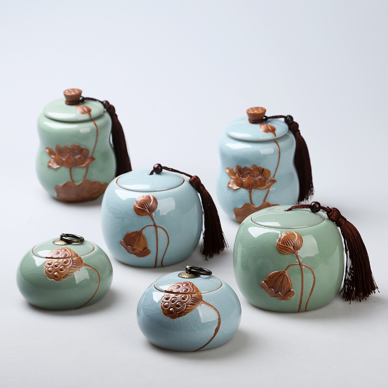 Blue Green Canister For Tea China Style Coffee Tea Candy Food Storage Jars Kitchen