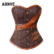 AONVE Brown Steampunk Corset Women Waste Trainer Sexy Corsets And Bustiers Burlesque Corselet Halloween Steam Punk Straitjacket(China)