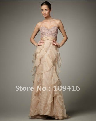 Free shipping 2012 elegant one-shoulder chiffon evening wear