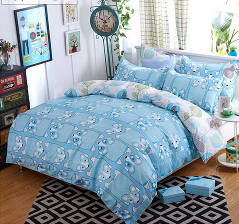 Blue mouses running soft comfortable warm reactive printing personality polyester 4 pcs bedding sets with double pillow cases