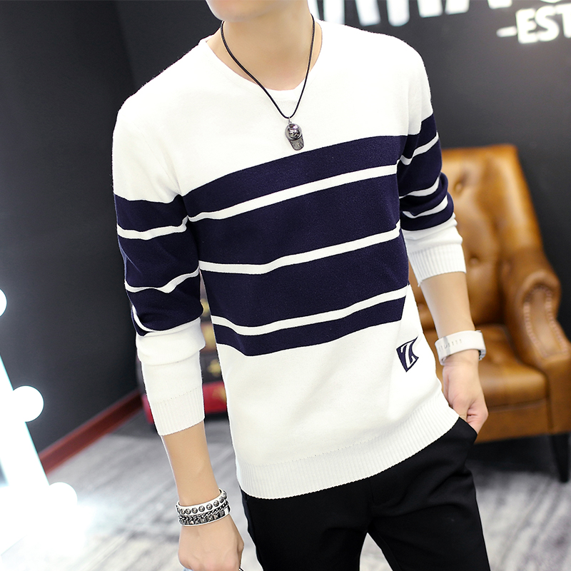 Fall 2020 Men Sweater V-neck Turtleneck Sweater Thin Striped Youth Fashion Long-sleeved Sweater