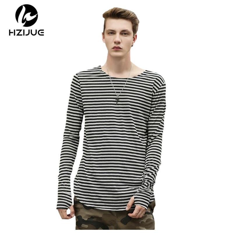 HZIJUE 2017 Justin bieber T-Shirt Mens Hip Hop Streetwear Striped Tee Long hole Sleeve O-neck T Shirt kanye Plus size t-shirts