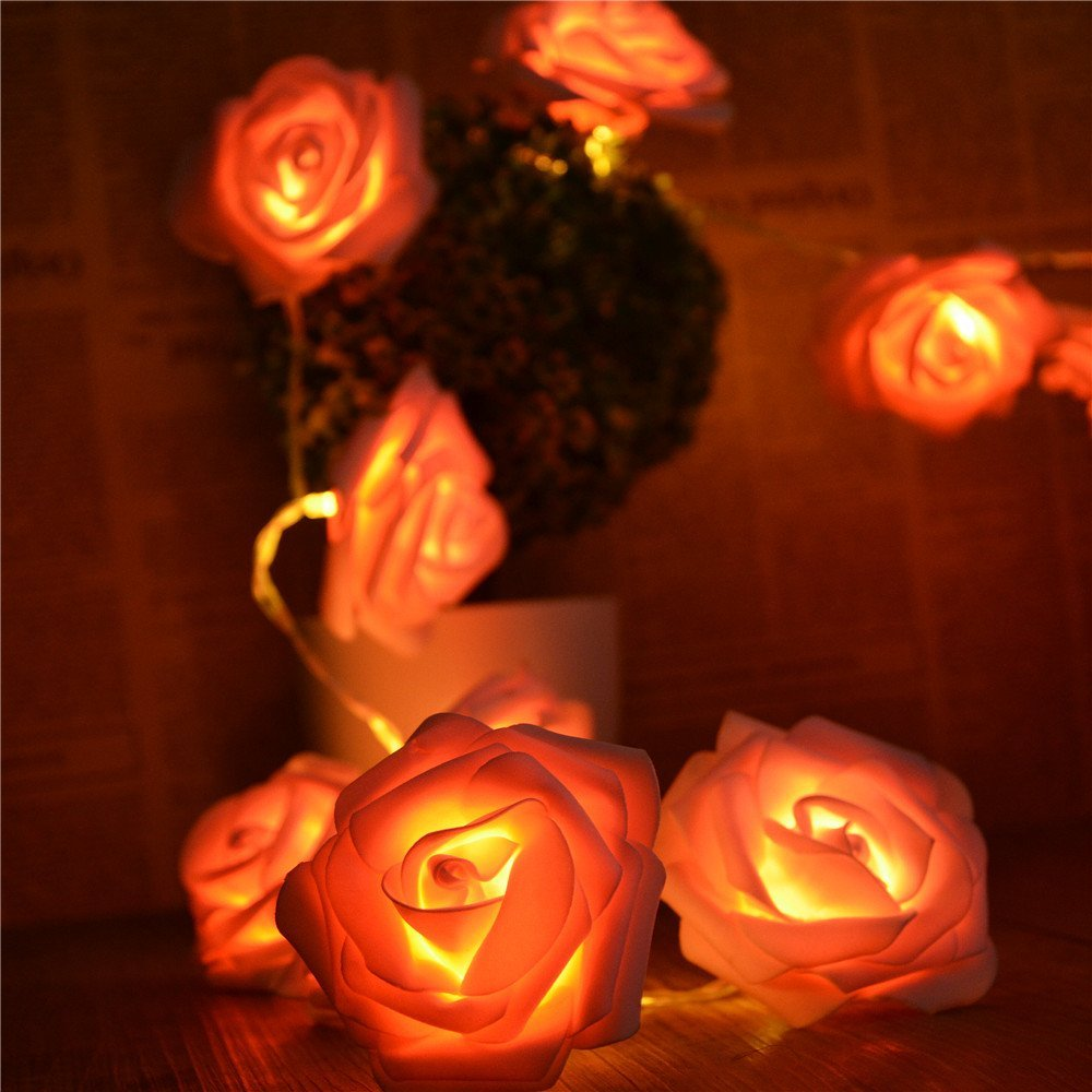 Battery Powered 2.2M 20LED Pink Rose flower String Lights Clear Cable bedroom decoration wedding Party indoor girl birthday gift