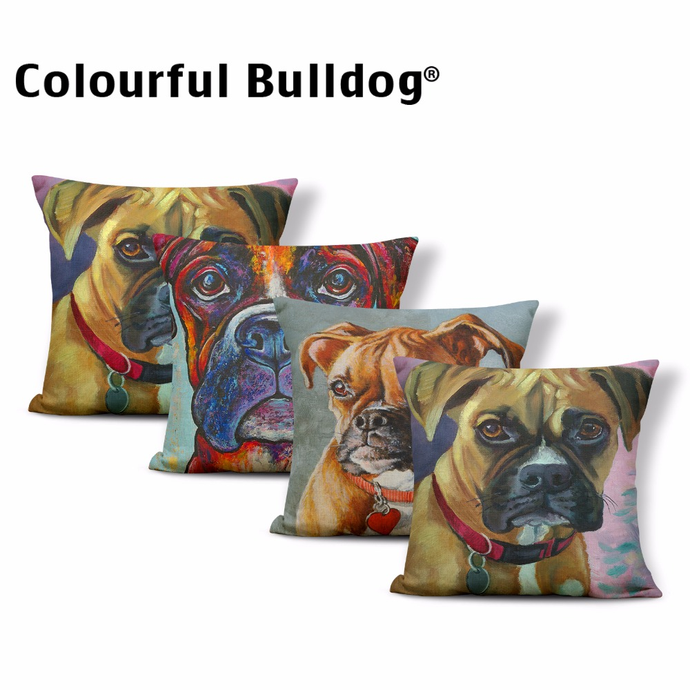High Quality 43*43 cm Cushion Covers Lovely Cat Boxer Dog Bedroom Dorm Decorated Linen Print Gift Couch Hotel Pillow Case Covers