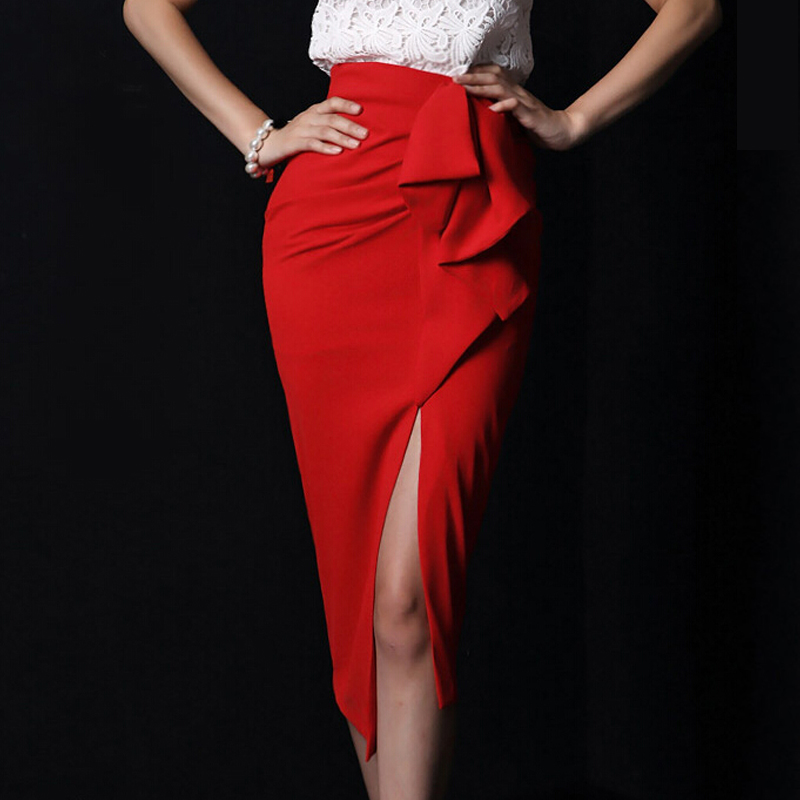 Online Shop Saias Femininas Long Khaki Maxi Skirt With Slits Red ...