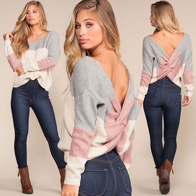 Criss Cross Backless Women Sweaters and Pullovers  1