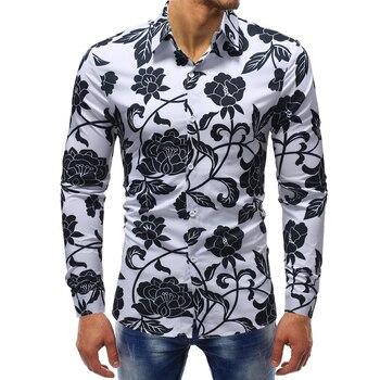 2018 fashion peony floral print tuxedo shirt men plus size 5xl long sleeve cotton hawaiian shirt camisa social masculina 2018 spring cotton dress shirts for men good quality long sleeve camisa social masculina hawaiian shirt