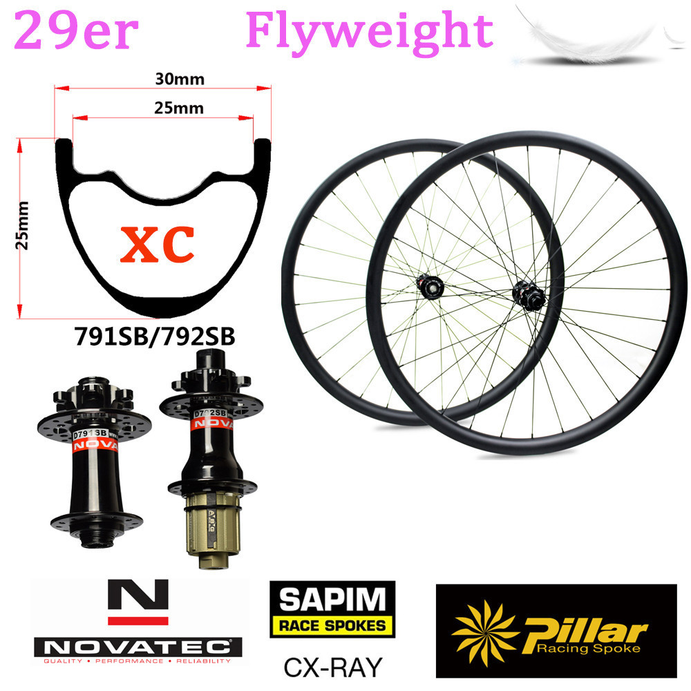 345g Light Weight 29 inch Carbon Rim Tubeless Ready For 29er Mountain Bike wheel XC mtb wheelset With NOVATEC D791/D792 Hub цены онлайн