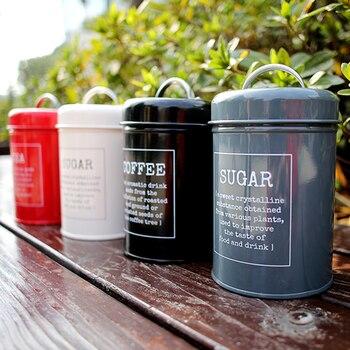 Metal Colorful Seal Storage Jar Classical Minimalist Nordic Desktop Storage Bottle Home Organizer Coffee Sugar Tea Container 3