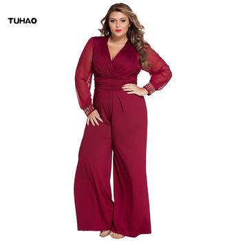 TUHAO Long overalls plus size 2XL 3XL Women Jumpsuit Winter Autumn Party Loose maxi Pants Office rivet jumpsuits oversize TQ01