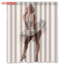WONZOM Polyester Fabric Shower Curtains with 12 Hooks For Bathroom Decor Modern 3D Marilyn Monroe Bath Waterproof Curtain
