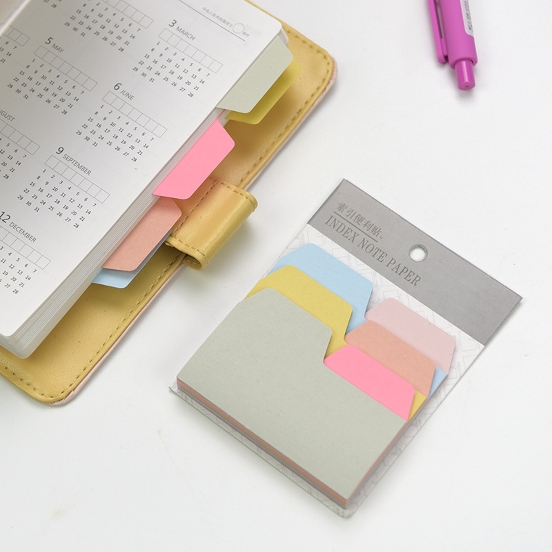 6 Colors Index <font><b>Tabs</b></font> Index Card Sticker Set <font><b>Cute</b></font> <font><b>Sticky</b></font> Note Post Memo Pad For School Supplies Office Accessories Stationery image
