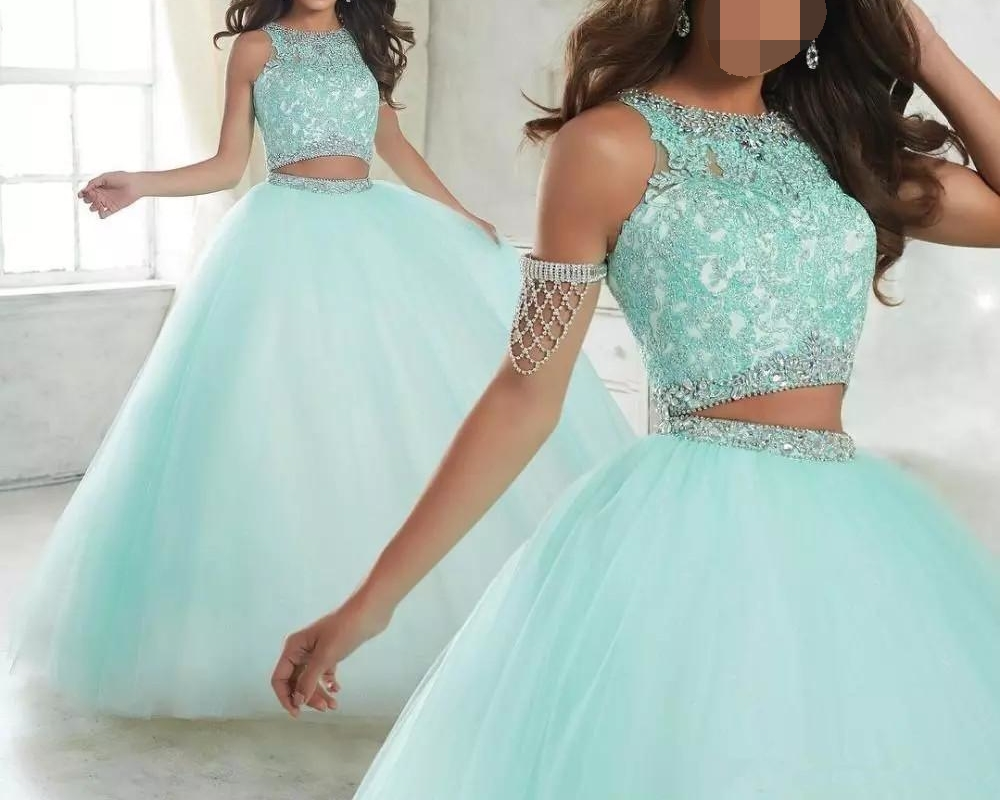 Two Piece Lace Ball Gown Quinceanera Dresses 2019 Vestidos De 15 Anos Floor Length Long Appliques Lace Sweet 16 Prom Dresses