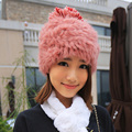 Hot sale knitting rabbit fur hat new fashion 2016 women's winter hats real natural rabbit fur with pom poms cap for girl