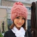 Venda quente tricô inverno chapéu de pele de coelho nova moda 2016 das mulheres chapéus de pele de coelho real natural com pom poms cap para a menina