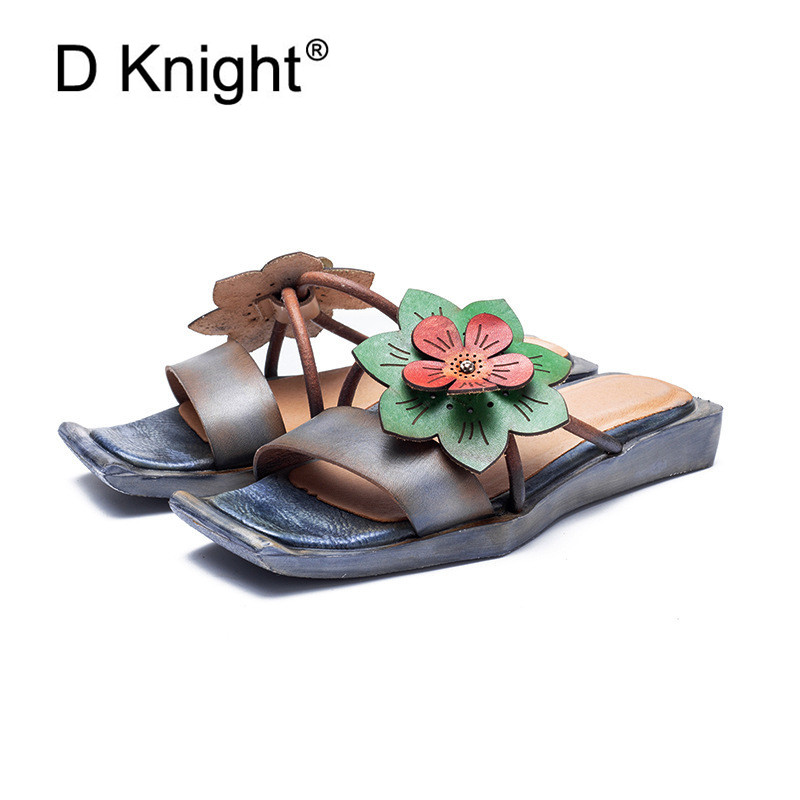 D Knight Outdoor Flower Slippers Genuine Leather Shoes Woman Handmade Slides Flip Flops On Casual Women Slippers Plus Size 35-40D Knight Outdoor Flower Slippers Genuine Leather Shoes Woman Handmade Slides Flip Flops On Casual Women Slippers Plus Size 35-40